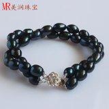 2 Strands Black Freshwater Pearl Bracelet (EB1568-1)