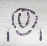Semi Precious Stone Natural Crystal Amethyst Charming Necklace Jewelry Sets