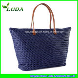 Blue Machine Woven Crochet Straw Bag