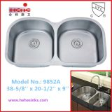 Cupc Recognized Equal Double Bowl Stainless Steel Kitchen Sink (9852)