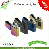 Ocitytimes Metal USB Lighters Rechargeable Double Arc Lighter Gift