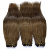 Brown Color Silk Straight Human Hair Weft