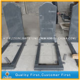 European Natural Stone Grey G654 Granite Tombstone with Flower Bed