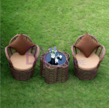 3 PCS Coarse Rattan Outdoor Villa Garden Furniture