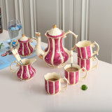 Ivory Porcelain Coffee with in Emperor Fuchsin 8 Coffee Sets