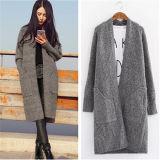 New Women′s Long Fleece Loose Casual Sweater Knitted Cardigan (50248)