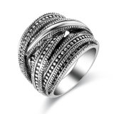 Antique Style Black Crystal Alloy Retro Jewelry Finger Ring