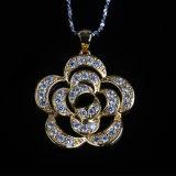 Beautiful Flower Shape Cubic Zirconia Fashion Silver Necklace Jewelry