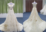 Georgeous Lace Wedding Dress. A Line Wedding Gown with Embroidery Laces and Trim.
