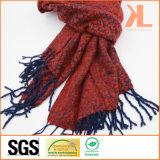 100% Acrylic Fashion Jacquarded Red & Navy Woven Scarf with Fringe