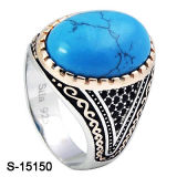 New Designs 925 Sterling Silver Turquoise Blue Men Ring.