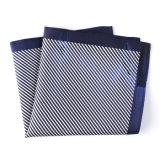 Fashionable Navy Blue Silk Polyester Stripe Printed Pocket Square Hanky Handkerchief