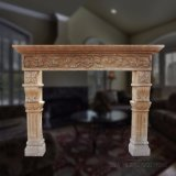 Limestone Fireplace with Antique Treatment T-3196
