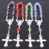 Mixed Colour 6mm Section Crystal Silver Religious Bracelet