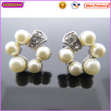 Elegant Pearl Silver Plated Imitation Pearl Jewelry Earring (22297)