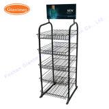 4 Tiers Supermarket Metal Floor Wire Basket Display Bakery Shelves Display Rack