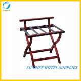Hotel Bedroom Wood Luggage Rack with Back Bar
