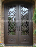 Tempered Double-Pane Privacy Glass Doors Crafted Wrought Iron Doors