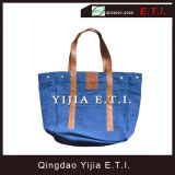 Blue Color Cotton Canvas Bag with Leather Handles