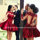 A-Line Evening Dress Long Sleeves Short Lace Prom Cocktail Party Dresses W1471925