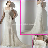 Cap Sleeves Lace Bridal Gown Pearls Tulle Wedding Dress A15133