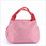 Fashionable Stripe Handle Oxford Lunch Bag
