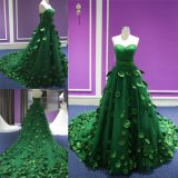Ruched Sweetheart Tulle Green Handsewn Leaves Ladies Party Evening Gown