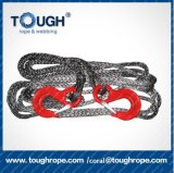 12mm*30m Braided Synthetic Electric Tow Rope with 3.15t Eye Hoist Hook 1m Sleeve Stainless Steel Tubular Thimble, Nose End Lock