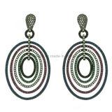 Plated Jewelry Colorful Hanging Circle Shaped Earrings (KE3110)