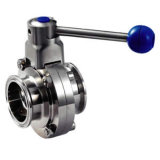 Sanitary Stainless Steel Ss304 Ss316 Clamped Butterfly Valve (DN15-200 & 1/2′′-8′′)