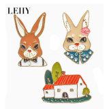 3 PCS/Sets Enamel Lady Rabbit Gentlemen Rabbit Gold-Plated House Brooches Jewelry
