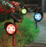 Plastic Spotlight with Attached Solar Pae LED Per Spot in Black