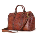 Brown Croc Print Real Leather Duffle Bag for Weekend Traveling