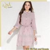Long Sleeve Women Maxi T-Shirt Elegant Style Chiffon Shirt Dress