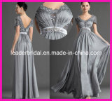 Cap Sleeves Evening Dress Silver Gray Silk Chiffon Bridesmaid Dresses V-Neck Mother of The Bride Groom Dress E13171