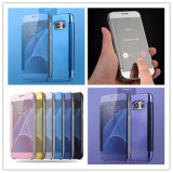 Newest Luxury Mirror Flip Electroplating Phone Cases for Samsung Galaxy S7 Edge Plus Hard Mobile Covers