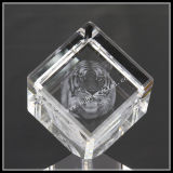 3D Laser Tiger Image in Diamond Crystal Cube