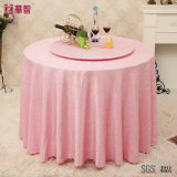 Pink Color Jacuqard Tablecloth for Home and Hotel Use