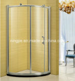 Big Copper Wheel Simple Temper Glass Aluminium Shower Room Nj-864