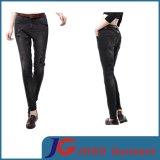 Black Ripped Leather Belt Women Jean Skinny Trousers (JC1196)