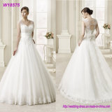 Spaghetti Strap Beaded Lace Appliqued Tulle A Line Wedding Dress Bridal Gown