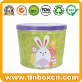 Custom Round Easter Egg Tin Can for Chocolate Candy Storage