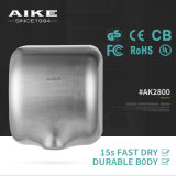 CE Certificate Most Popular Eco Automatic 304 Stainless Steel Single High Speed Jet Air Hand Dryer for Public Toilet (AK2800)