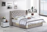 European Stylish Bedroom Set Soft Italy Leather Double Bed