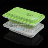 550ml Green White Hinged Single Compartment Disposable Plasitc Food Box