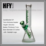 Hfy Glass New Sandblasted 10 Inches 7mm Thickness Illadelph Frosted Glass Smoking Water Pipe at Beaker Base