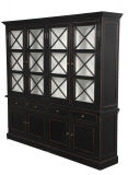 French Country Style Wooden Cabinet with Barred Door
