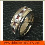 Shineme Jewelry High Quality Garnet Stones Titanium Ring (TR1921)