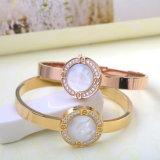 Fashion Jewelry Stainless Steel Bracelet White Shell Diamond Cuff Bangle