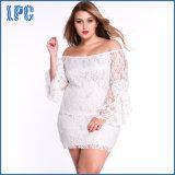 Custom New Designs Lace Fringe Trumpet Fashionable Long Sleeve XL Size Fat Women Dress